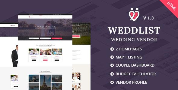 Weddlist - Wedding Vendor Directory HTML Template