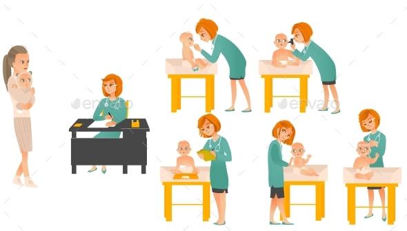 Cartoon Pediatrician Doctors and Baby Set