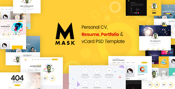 Download Mask – Personal CV, Resume, Portfolio & vCard PSD Template Nulled