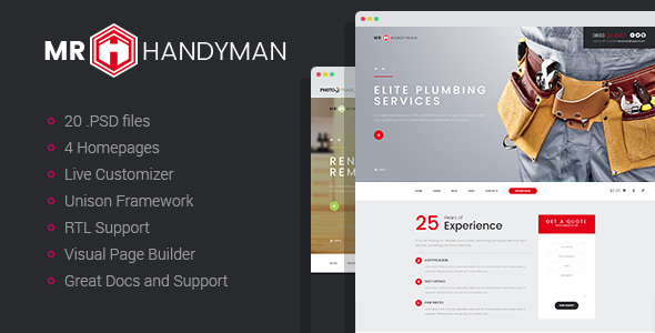 Handyman - House Repair & Renovation WordPress Theme