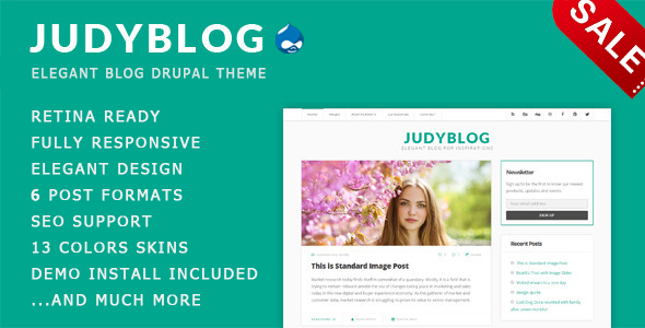 JudyBlog - Elegant Blog Drupal 7.6 Theme