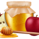 Jar of Honey with Wooden Dipper and Apple - GraphicRiver Item for Sale