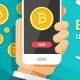 Two Hands Holding Mobile Phones With Bitcoin Cryptocurrency Vector Flat Colored Illustration - GraphicRiver Item for Sale