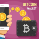 Hand Holding Mobile Phone Sending Gold Bitcoins Into the Wallet - GraphicRiver Item for Sale