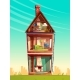 Vector Cartoon Multistory House Interior - GraphicRiver Item for Sale