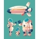 Vector Spaceman Family in Spacesuit with Spaceship - GraphicRiver Item for Sale