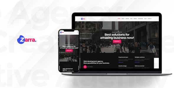 Zarra – One Page Creative Agency HTML Template