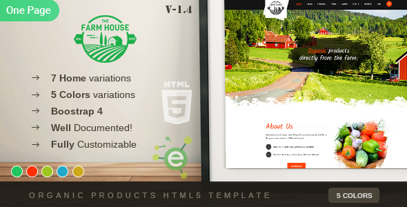 The Farm House - One Page Organic Food, Fruit and Vegetables Products HTML5 Template