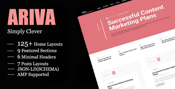 Ariva - Simple Text-Based WordPress Blog Theme