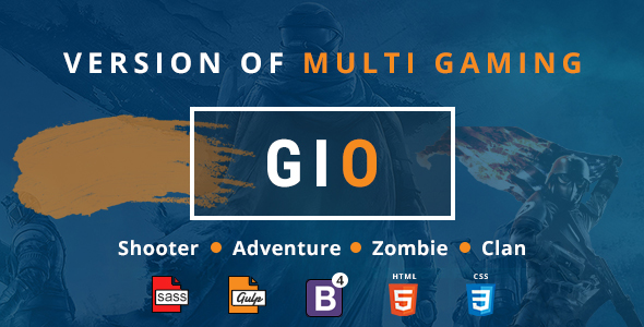 GIO - Gaming Community Forum With Team Tournament Shooter Clan Adventure and Zombie Game Template