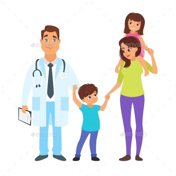 Doctor with Mother and Children