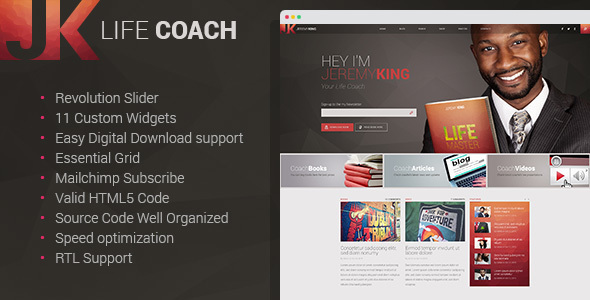 Life Coach - Public Speaker Personal Page WordPress theme