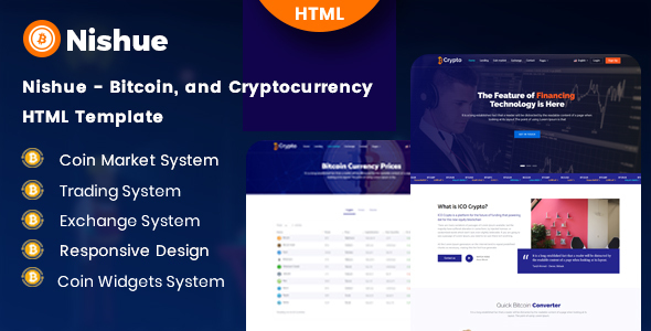 Nishue - Bitcoin and Cryptocurrency HTML Template