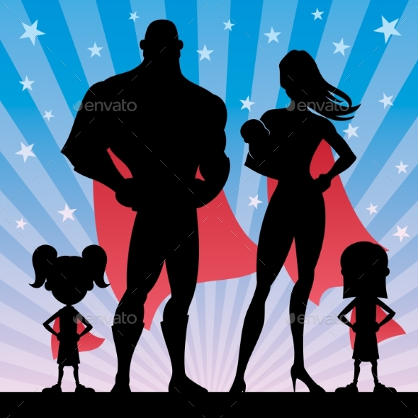 Superhero Family with 2 Girls and Baby