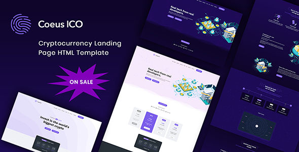 Coeus - Cryptocurrency Landing Page HTML Template