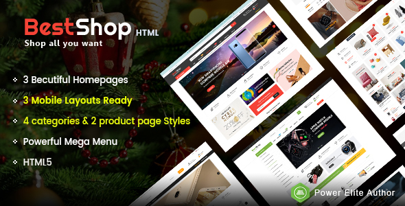 BestShop - Top MultiPurpose HTML Template With Mobile Layouts
