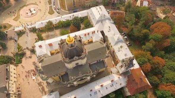 Flying Over Cathedral of St. Jura Lviv Ukraine.
