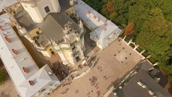 Flying Over Cathedral of St. Jura Lviv Ukraine