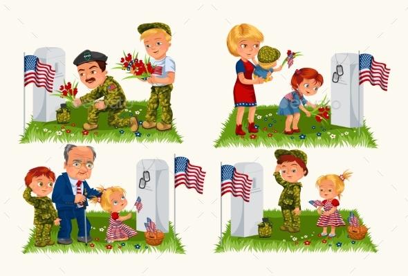 Senior Man with Children in Military Cemetery