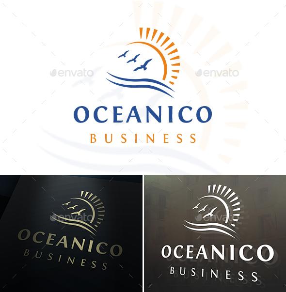 Ocean Birds Sun Logo