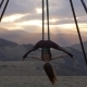 Woman Doing Aerial Fly Yoga Exercising Outdoor - VideoHive Item for Sale
