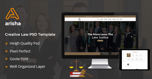 Aarisha - Law Firm Landing Page PSD Template