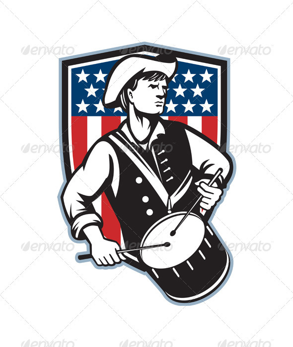 American Patriot Drummer With Flag