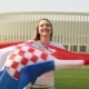 Girl with the Flag of Croatia. Woman Soccer Fan with Croatian Flag - VideoHive Item for Sale