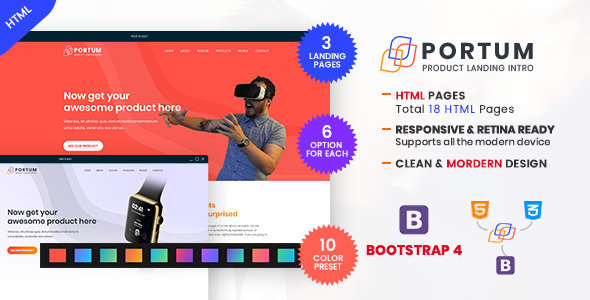 Portum - Single Product Landing Intro Page HTML Template