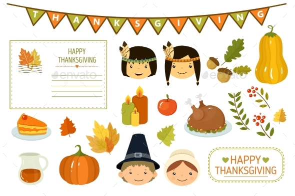 Happy Thanksgiving Card, Elements of Thanksgiving