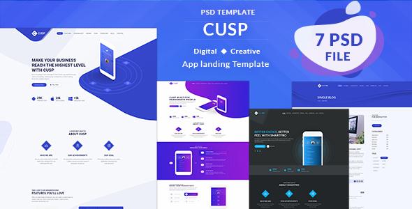 Cusp - App Landing Page PSD