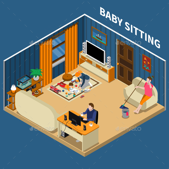 Baby Sitter Isometric Composition