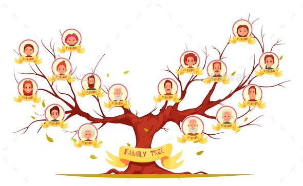 Family Tree Horizontal Cartoon Illustration