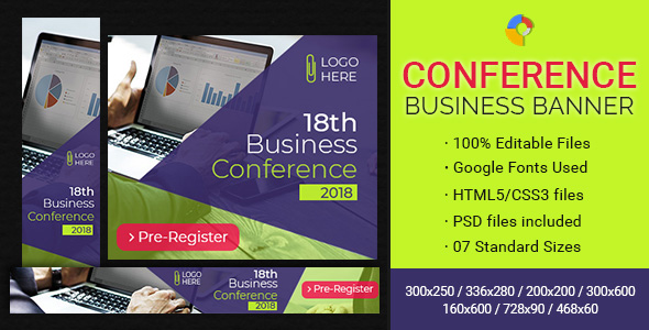 GWD   Business Conference & Events Ad Banners - 7 Sizes