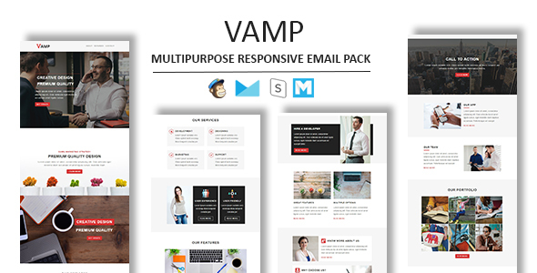 Vamp - Multipurpose Responsive Email Template With Stamp Ready Builder Access