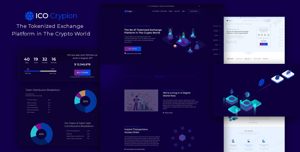 ICO Crypion – Bitcoin and Cryptocurrency Landing Page PSD Template