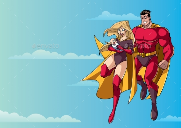 Super Mom Dad and Baby in Sky