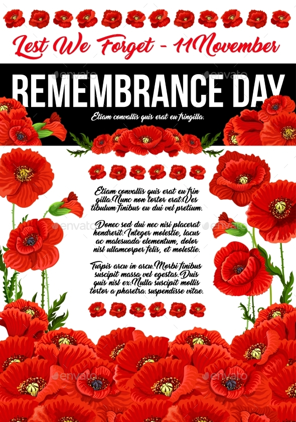 Poppy Remembrance Day 11 November Vector Poster