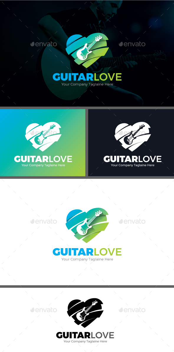 Guitar Love Logo Template