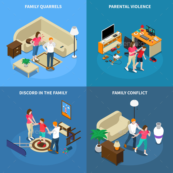 Family Issues Isometric Design Concept