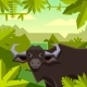 Flat Geometric Jungle Background with Buffalo - GraphicRiver Item for Sale
