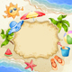 Summer Elements with Happy Sun,Watermelon,Sea and Palm Trees. - GraphicRiver Item for Sale