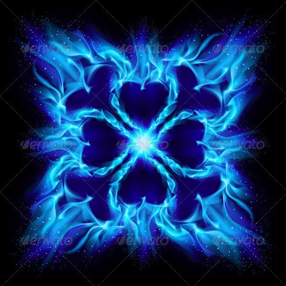 Blue Burning Fire Cross