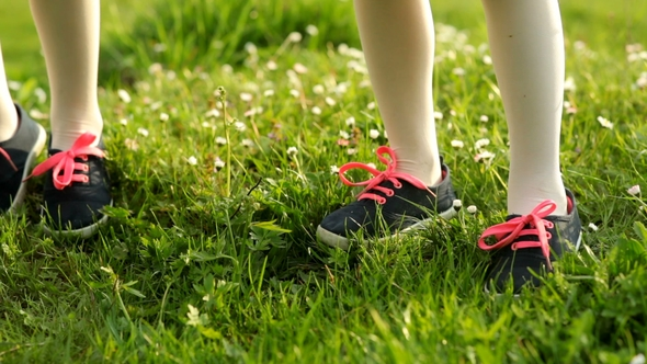 Two Little Girls Are Standing on Green Grass