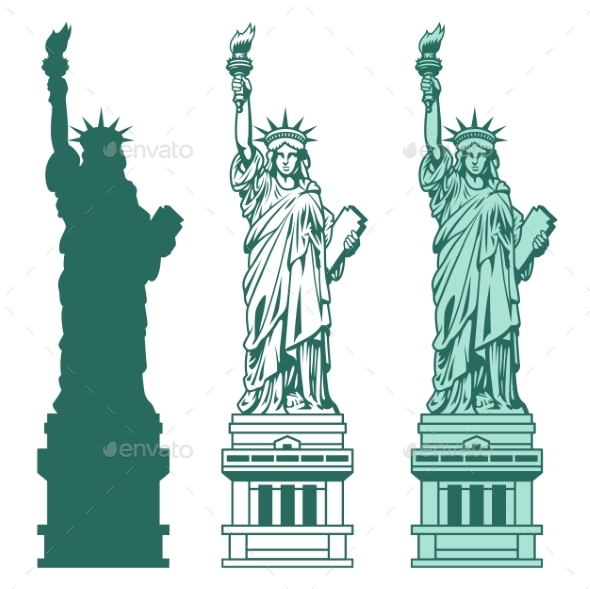 Set of the Statue of Liberty in New York City