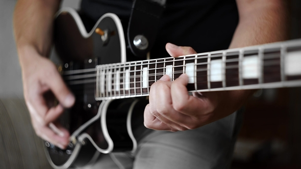 Man's Hands Playing the Funky Rhythm on Electric Guitar, Electric Musical Instruments, Playing Loud