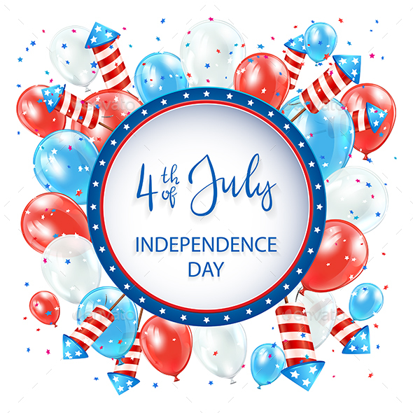 Independence Day with Balloons and Fireworks on White Background