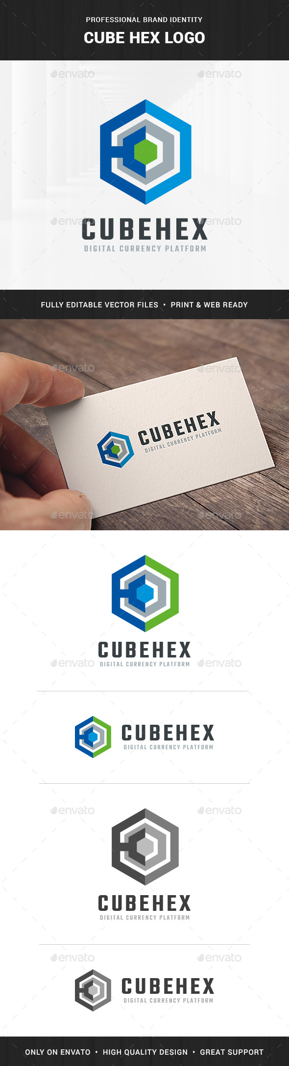 Cube Hex Logo Template