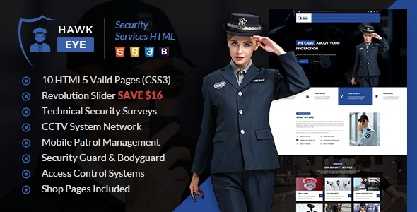 Hawkeye - Security Services HTML Template