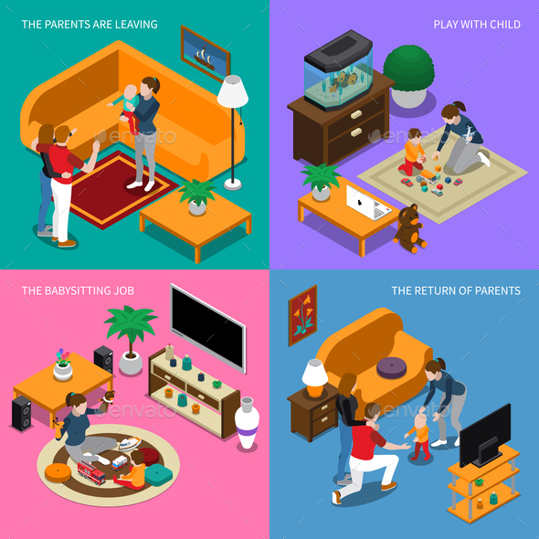 Baby Sitter Isometric Concept